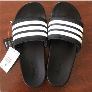 Adidas Adilette Black and White Slides
